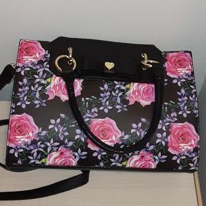 Betsy Johnson black and floral handbag